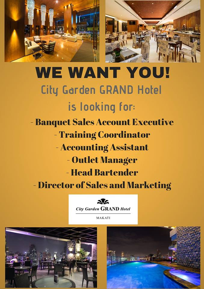 City Garden Grand Hotel Training Coordinator Accounting Assistant And Banquet Sales Account Executive